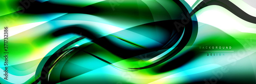 Vector abstract background, flowing liquid style bubble with metallic, color qui Canvas-taulu