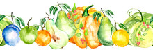 Watercolor Painting, Vintage Seamless Pattern - Tropical Fruits, Citrus, Slices Of Lemon, Orange, Mandarin, Pumpkin,apricot, Peach, Apple, Plum, Cherry Plum. Splash Of Paint Yellow, Red And Orange.
