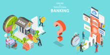 3D Isometric Flat Vector Conceptual Illustration Of Online Vs Traditional Banking.