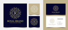 R Initial Letter Vintage Royal Luxury Logo Design With Visiting Card Stationery Design Vector Premium