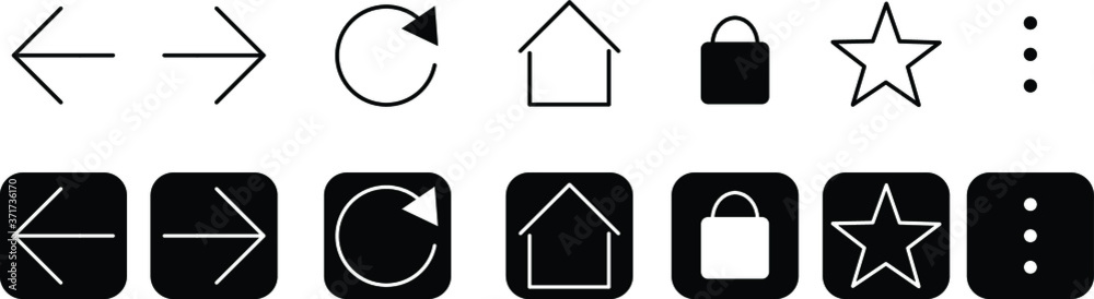 Fototapeta set of buttons  interface web browser , vectorial icons black and white