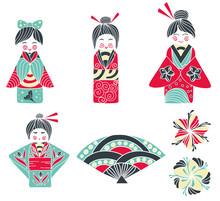 Set Of Japanese Girl, Kokeshi ...