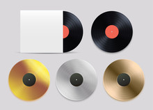 Vinyl Records Set. Black, Gold, Silver, Bronze Record For Award Or Certification. Isolated Vector On White Background.