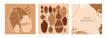 Set Of Decorative Square Posters With Abstract Lines And Spots In Natural Colors. Banners And Template With Hand-drawn Minimalist Terracotta Vases. Inspired By The Art Of Pottery. Vector Illustration.