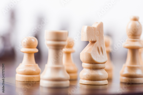 Chess board with white and black pieces. Fototapete
