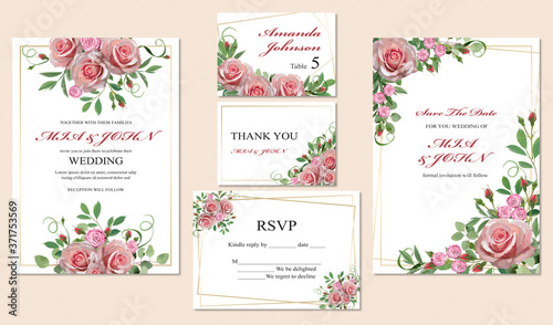 Fototapeta Beautiful wedding invitations and cards with floral motif on beige background, t