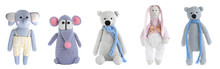 Set Of Different Stuffed Toys For Kids On White Background. Banner Design