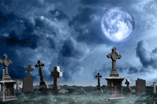 Misty graveyard with old creepy headstones under full moon on Halloween Wallpaper Mural