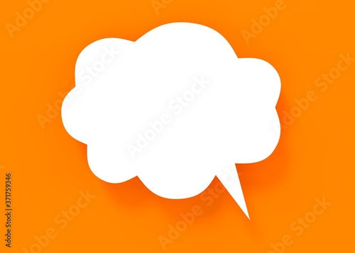 Photo speech bubble on yellow background 3d rendering