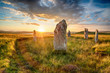 Dranatic sunset over Ceann Hulavig stone circle on the Isle of Lewis