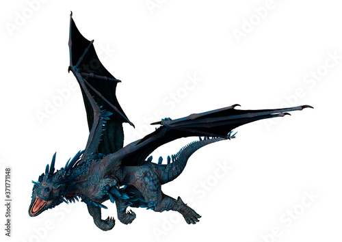 Canvastavla 3D Rendering Fairy Tale Dragon on White
