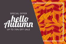 Autumn Sale Background With Ha...