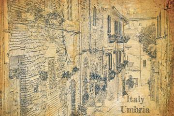 Fototapeta Architektura Vintage street in small town, Umbria, sketch on old paper
