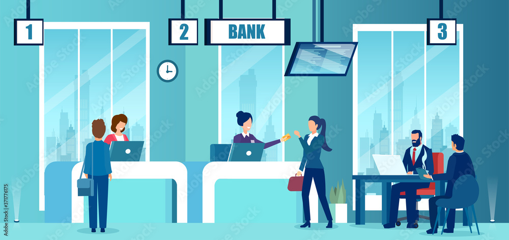 Fototapeta Vector of a modern bank office interior with employees and customers characters.