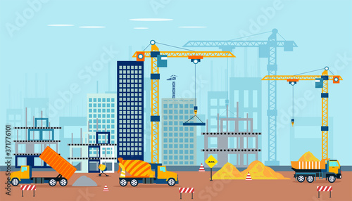 Vector of a construction site with machinery building a high rise apartment comp Fototapet