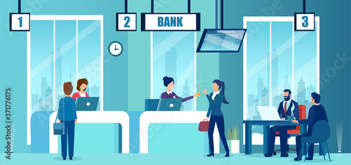 Fotografia Vector of a modern bank office interior with employees and customers characters