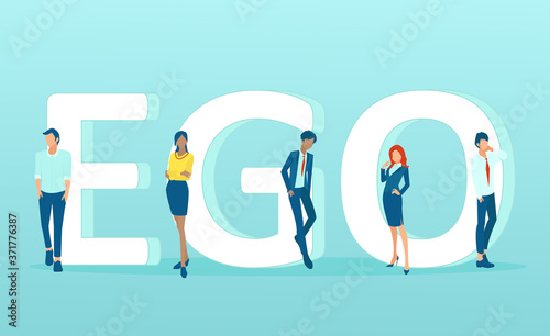 Fotografie, Obraz Vector of men and women standing by the word ego