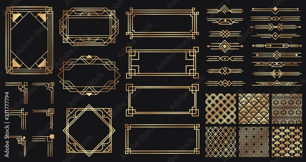 Fototapeta Art deco elements set. Creative golden borders and frames. Dividers and headers for luxury or premium design. Old antique elegant elements isolated on dark . Decoration for cards vector illustration