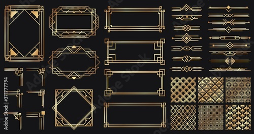Obraz Art deco elements set. Creative golden borders and frames. Dividers and headers for luxury or premium design. Old antique elegant elements isolated on dark . Decoration for cards vector illustration - fototapety do salonu