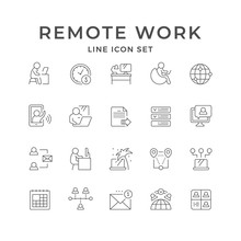Set Line Icons Of Remote Work