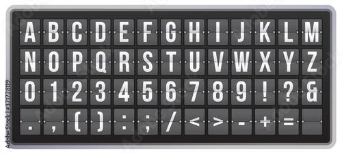 Canvastavla Realistic scoreboard flip font