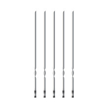 Metal Skewers Set Of Four Pieces Of Top View, Realistic Vector Illustration, Objects Isolated On White, Kitchen Utensils For The Barbecue And Kebab.