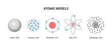 Vector Illustration Of Atomic Models.  Scientists And Years