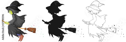 Valokuva Witch with broomstick in color and outline and silhouette cartoon character isol