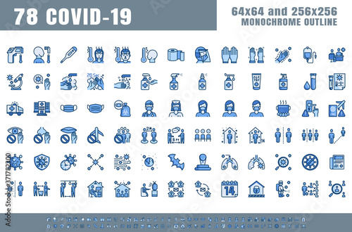 Foto Vector of 78 Covid-19 Prevention Monochrome Flat Blue Filled Line Outline Icons