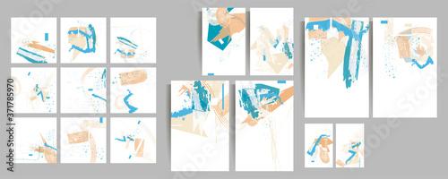 Fototapeta Elegant natural pastel muted pale calm tones card templates set