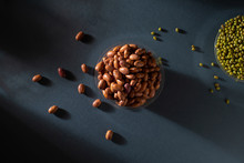 Pinto Beans In Glass Pot With Mung Bean Image Top View, Photography, Light And Shade