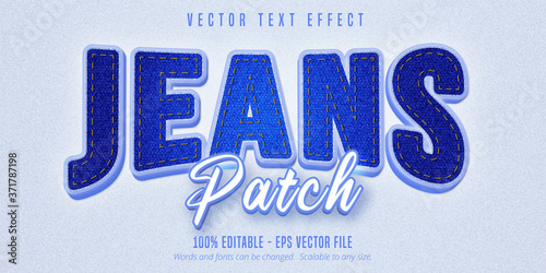 Obraz Jeans patch text, realistic denim style editable text effect - fototapety do salonu