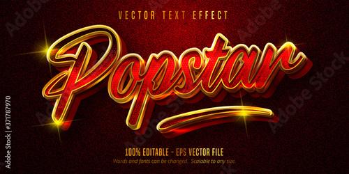 Popstar text, shiny golden style editable text effect