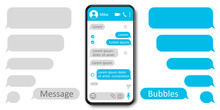 Set Message Template Bubbles Icons, Dialogue, Chatting Sms. Social Network Chatting Window In Phone Screen – Stock Vector