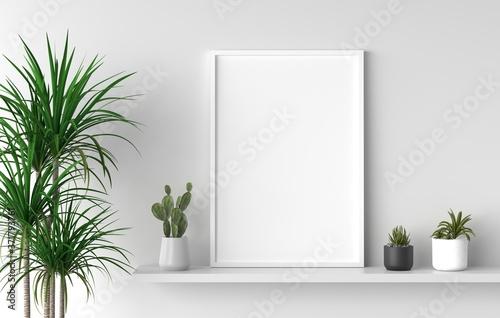 Mockup empty photo frame in white room. 3D rendering.