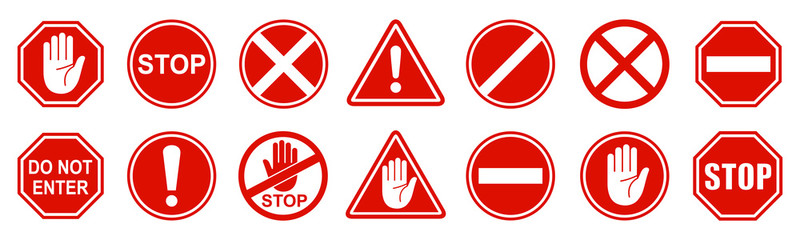 Set stop red sign icon with white hand, do not enter. Warning stop sign - stock vector