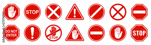 Set stop red sign icon with white hand, do not enter. Warning stop sign - stock vector - fototapety na wymiar