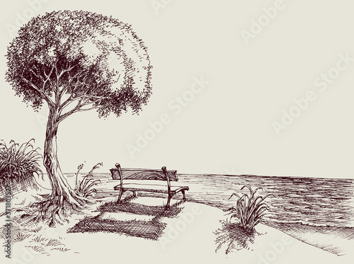 Fotografie, Obraz Sea view from a bench in the garden hand drawing