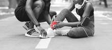 Sport Injuries. Black Girl Mas...