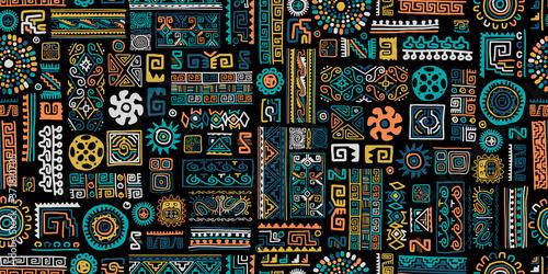 Fototapeta Ethnic handmade ornament, seamless pattern obraz