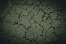 Closeup Of Dry Desert Like  Soil With A Lot Of Cracks