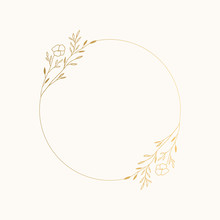 Elegant Floral Round Frame For Summer Design. Vector Hand Drawn Illustration.