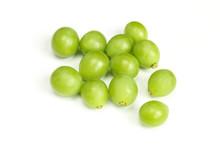 Pile Of Green Unripe Grape Beans Isolated On White Background. Organic Fruit