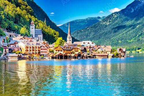 Fotografie, Obraz Hallstatt am Hallstätter See im Salzkammergut, Oberösterreich, Österreich