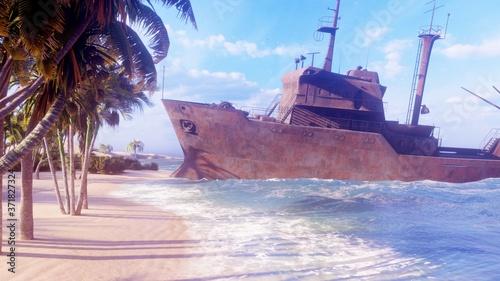 Fotografia A ruined rusty ship lies on the beach of a tropical island