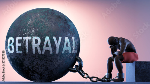 Fototapeta Betrayal as a heavy weight in life - symbolized by a person in chains attached t