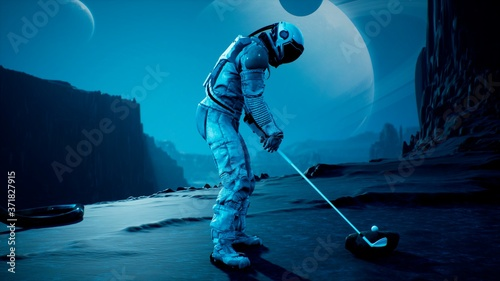 Fotomural An astronaut explorer is playing Golf on a beautiful alien planet