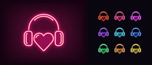 Neon Music Heart Icon. Glowing...