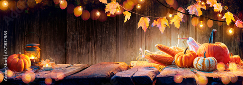 Obraz  Thanksgiving Table - Pumpkins And Corncobs On Wooden Plank With Garlands  - fototapety do salonu