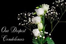 Macro Close Up Of Fresh White Roses On  Black  Background